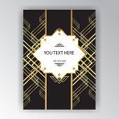 Modern Golden Black Page Background For Print And Web Art Deco , Art Novo Page Template. Line Art Ge poster