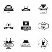 Beachwear Logo Set. Simple Set Of 9 Beachwear Vector Logo For Web Isolated On White Background poster