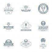 Air Balloon Logo Set. Simple Set Of 9 Air Balloon Vector Logo For Web Isolated On White Background poster