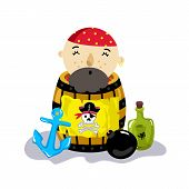 Pirate Character In Wooden Barrel Icon. Children Drawing Of Pirate Concept Illustration Isolated On  poster