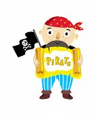 Pirate Character With Scroll Icon. Children Drawing Of Pirate Concept Illustration Isolated On White poster