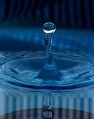 A Water Drop About To Collide With A Spout Of Transparent Water On A Blue Patterned Background. Liqu poster