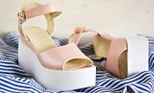 New, Leather Fashionable Sandals On A Wedge. Fashion & Style. poster