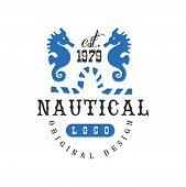 Nautical Logo Original Design Est 1979, Retro Badge For Nautical School, Sport Club, Business Identi poster