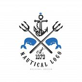 Nautical Logo Original Design Est 1979, Retro Emblem With Marine Elements For Nautical School, Sport poster
