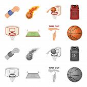 Basketball And Attributes Cartoon, Monochrome Icons In Set Collection For Design.basketball Player A poster