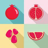 Pomegranate Juice Seeds Garnet Icons Set. Flat Illustration Of 4 Pomegranate Juice Seeds Garnet Vect poster