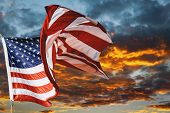 American Flag Waving In The Wind Beautiful Sunset Sunrise With Clouds, In Pink And Purple Shades Pin poster