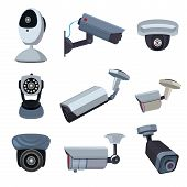 Security Cameras. Cctv Systems Video Control, Looking And Surveillance, Monitored Guard. Vector Illu poster