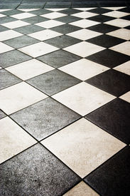 picture of ceramic tile  - floor pattern in high contrast - JPG