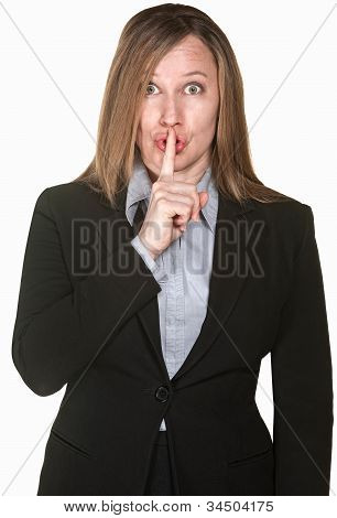 Woman Gestures Silence