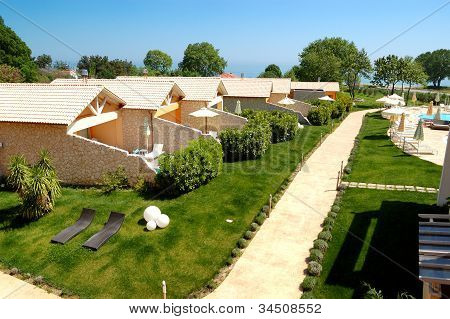 Villas And Lawn At Luxury Hotel, Pieria, Greece