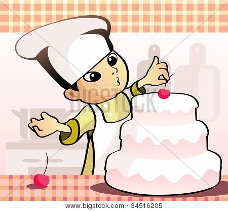 Confectioner Baking A Cake