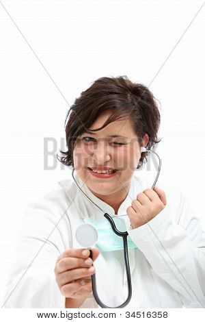Playful Nurse With Stethoscope