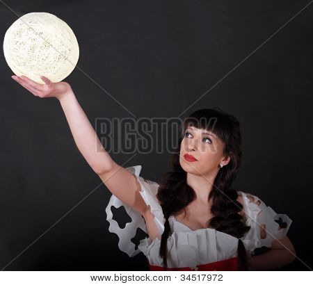 Woman Holding White Light Ball