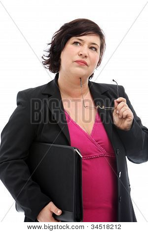 Pensive Businesswoman Making Decisions