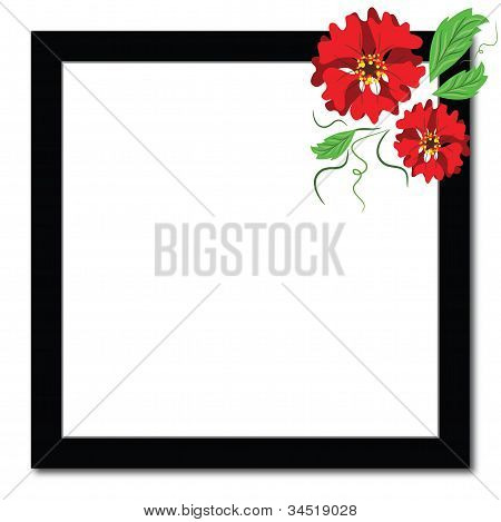 Black frame with red flowers.