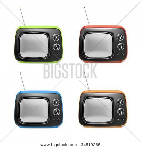 Set of retro TV in various color