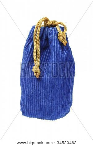Corduroy Fabric Pouch Standing on White Background