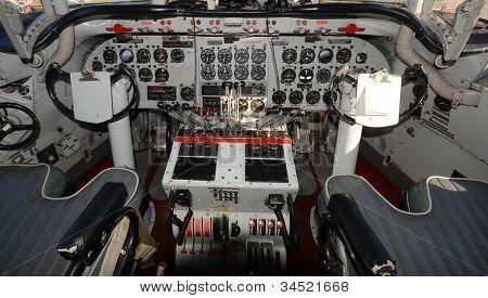 Old Turboprop Airplane Cockpit