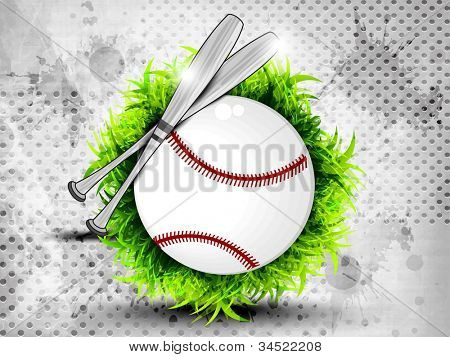 Illustration of American Baseball on grungy grey  background. EPS 10.
