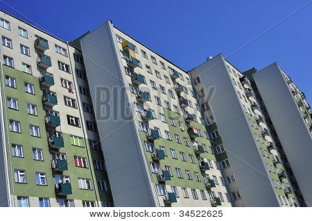 Facade of the block in Poland