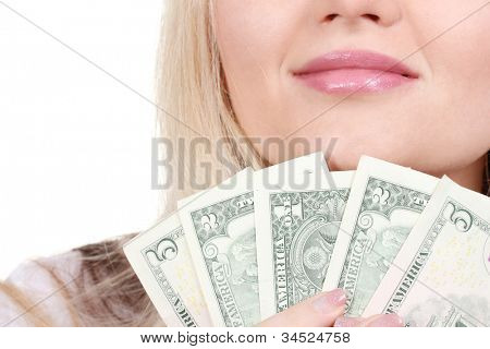 Business woman holding money closeup