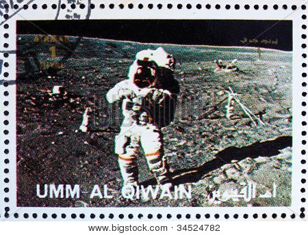 Postage stamp Umm al-Quwain 1972 Astronaut walks on the Moon