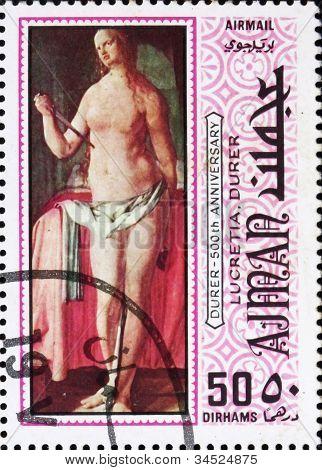 Postage stamp Ajman 1970 Lucretia by Albrecht Durer