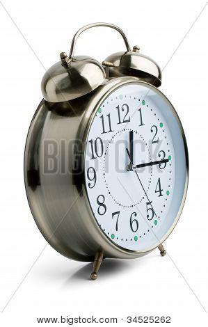 Round Alarm Clock In A Metal Case
