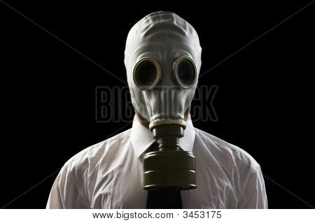 Businessman Wearing Gas Mask
