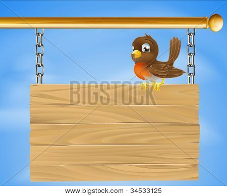 Bird On Wood Sign