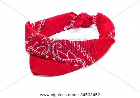 paisley patterned red bandana on a white white background
