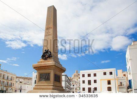 Eivissa Ibiza town corsair monument with downtown in background