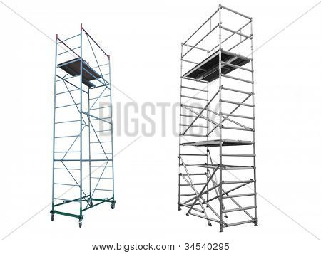 The image of scaffolds and lift under the white background