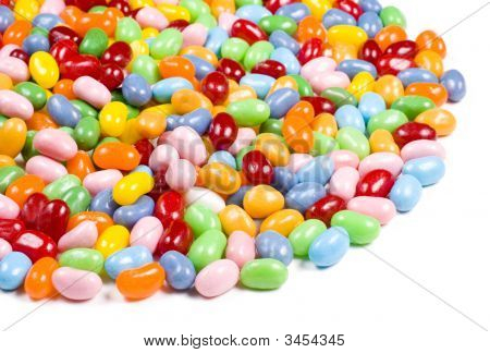 Jelly Beans Candy On White Background