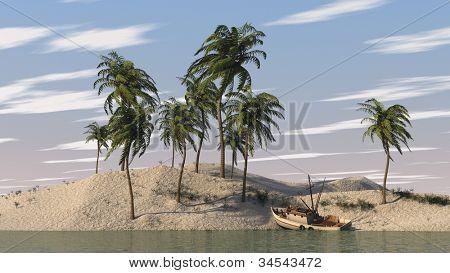 ship near the island