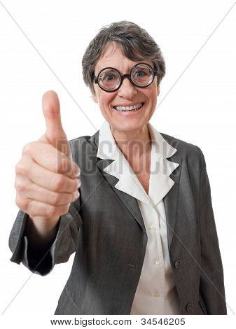 Funny Lady With Thumb Up