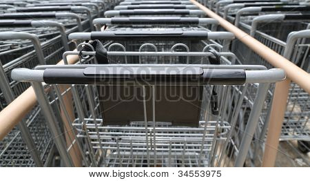 Metal Shopping Carts In A Row