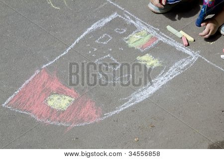 Chalk Drawing On The Pavement