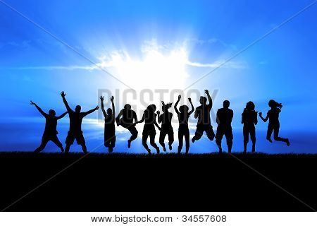 People Jumping In Sun Rays