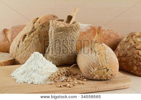 Assortments of different dietetic breads