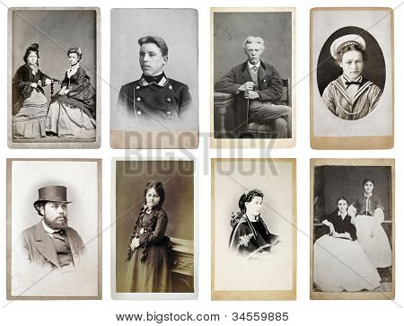 Grupo de viejas fotografías de finales del siglo XIX