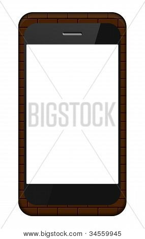 Vector Smartphone In A Brick Cover Isolated On White. Eps 10