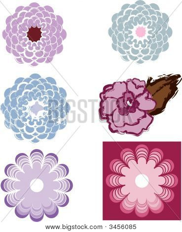 Set Of Vector Flower Designs