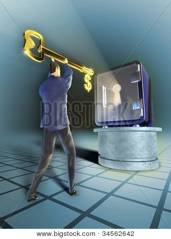 Businessman with a giant golden key is trying to open a safe. Digital illustration.