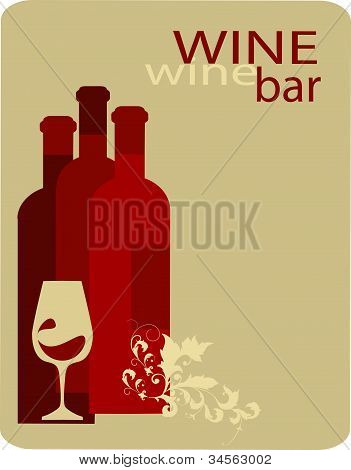wine bottles and glass. vector design template