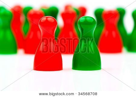 red and green characters. coalition government between red and green.