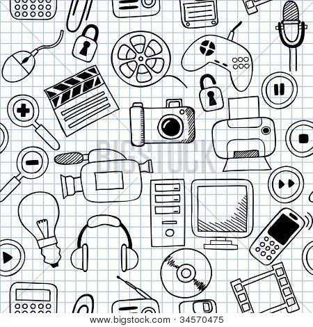 Ilustración de vector de texturas sin fisuras en electrónica