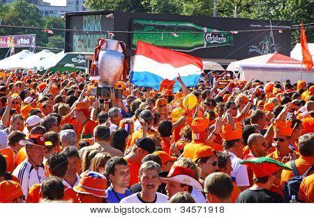 Holland Football Team Supporters Walk On A Street Of Kharkiv City, Ukraine